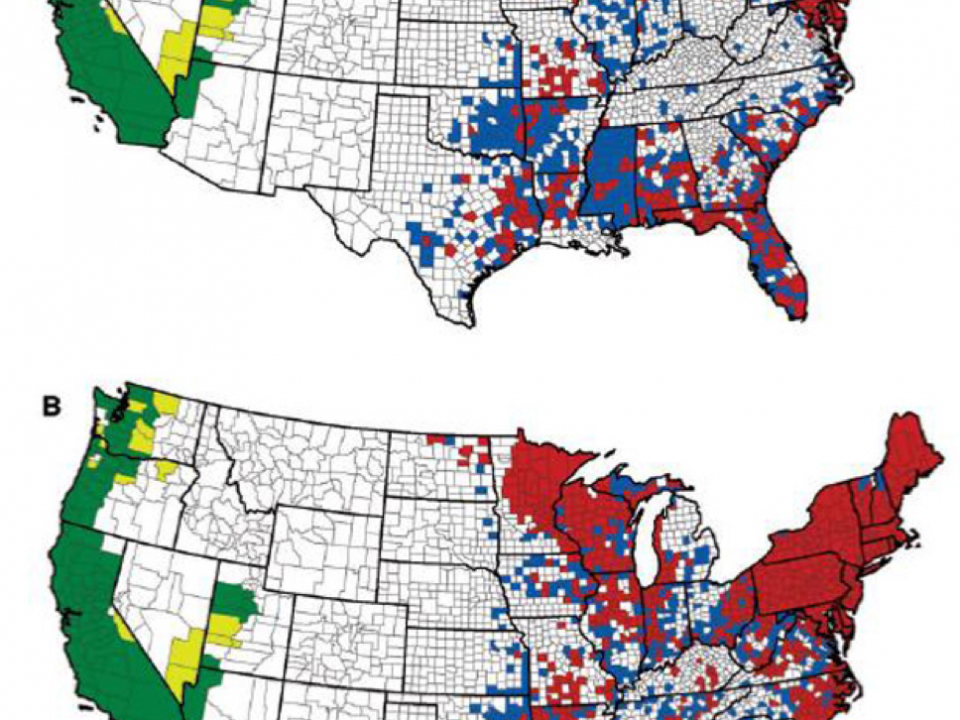counties with Lyme disease carrying tick population